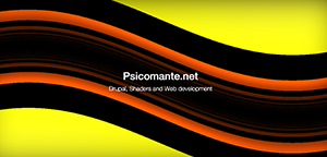 Psicomante.net, Drupal, Shaders and Web Development. The background is abstract and it represents a set of curved (sin) lines. The varying color includes black, red, orange and yellow